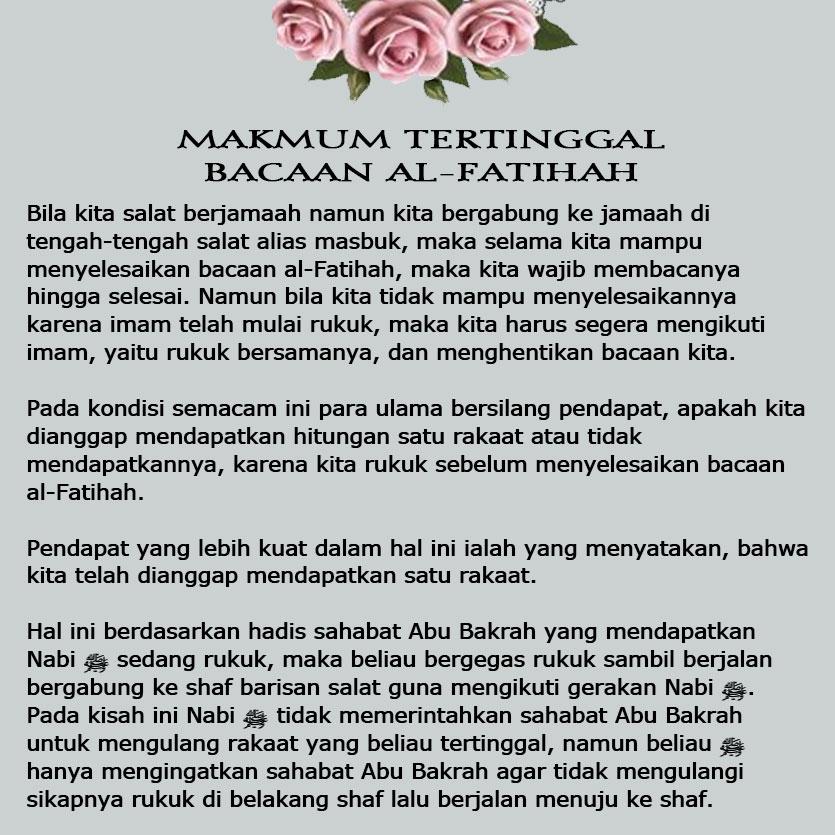 Makmum Tertinggal Bacaan Al Fatihah Nasihat Sahabat