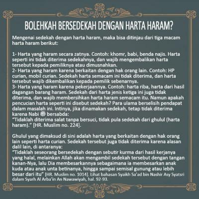 BOLEHKAH BERSEDEKAH DENGAN HARTA HARAM?