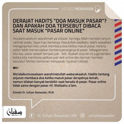 DERAJAT HADIS DOA MASUK PASAR (FATWA ULAMA)