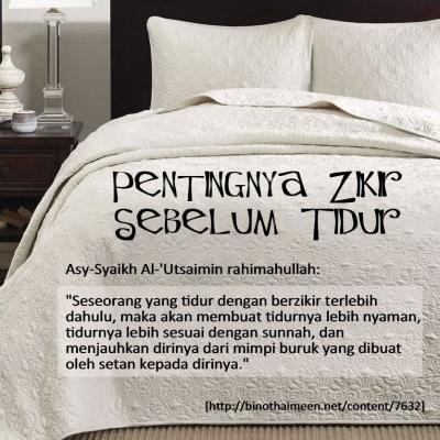 PENTINGNYA ZIKIR SEBELUM TIDUR