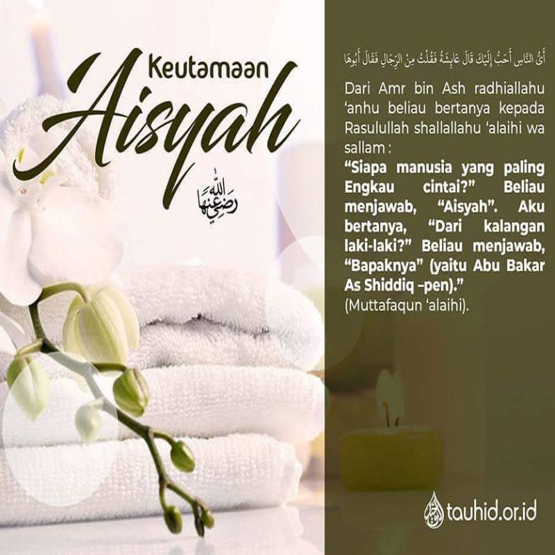 DI ANTARA KEUTAMAAN AISYAH RADHIALLAHU 'ANHA