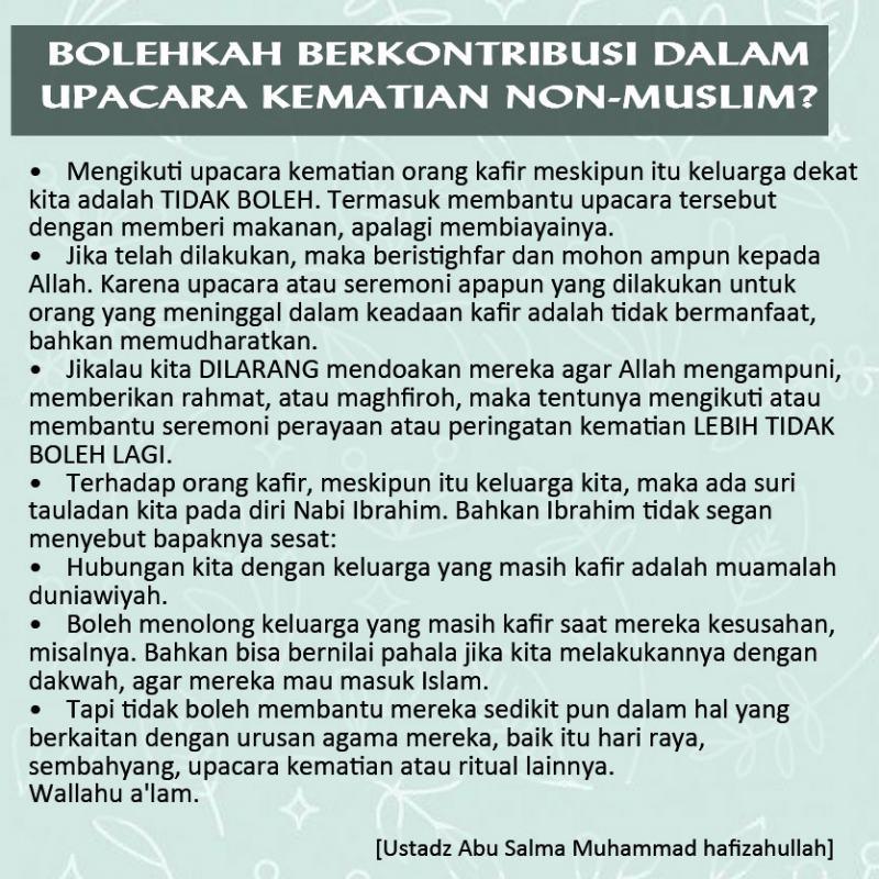 Bolehkah Berkontribusi Dalam Upacara Kematian Non-Muslim?