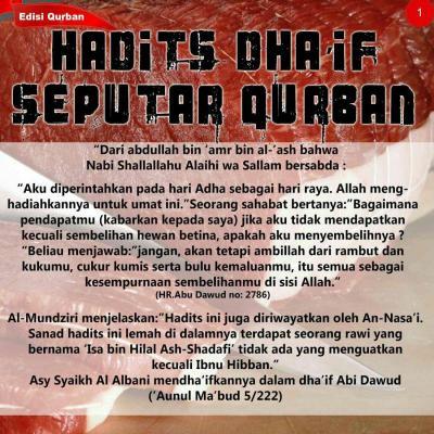 DI ANTARA HADIS DHAIF DAN MAUDHU SEPUTAR KURBAN