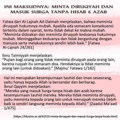 INI MAKSUDNYA: MINTA DIRUQYAH DAN MASUK SURGA TANPA HISAB DAN AZAB