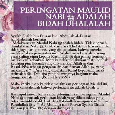 PERINGATAN MAULID NABI ADALAH BIDAH DHALALAH