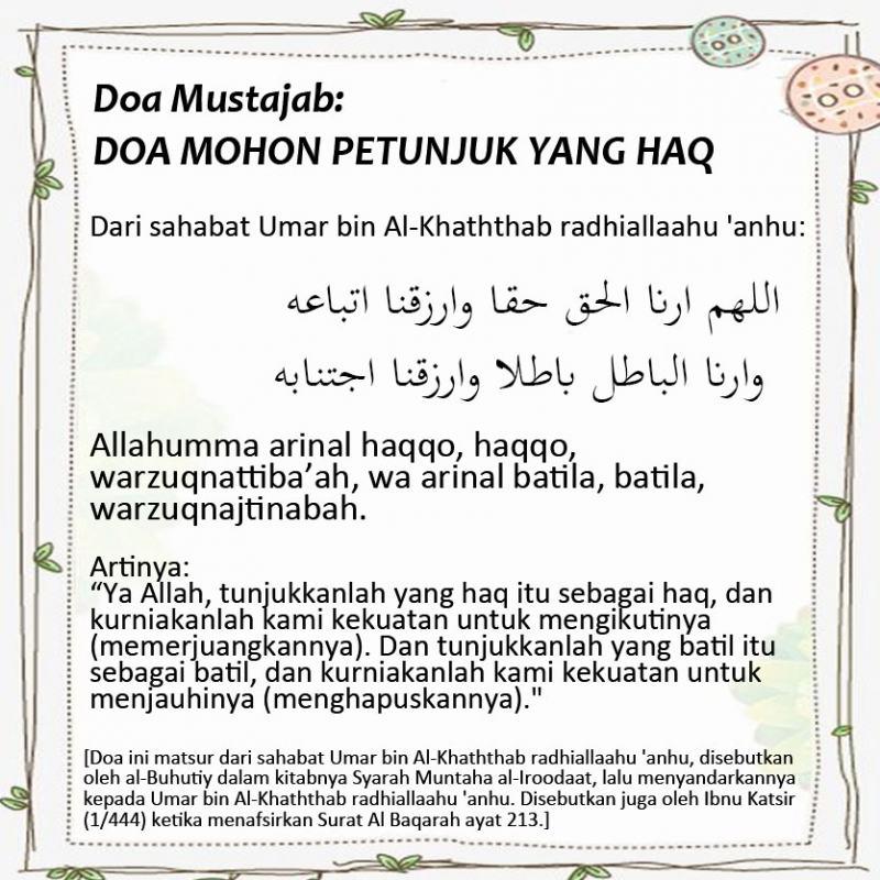 Doa Mustajab Doa Mohon Petunjuk Yang Haq Nasihat Sahabat