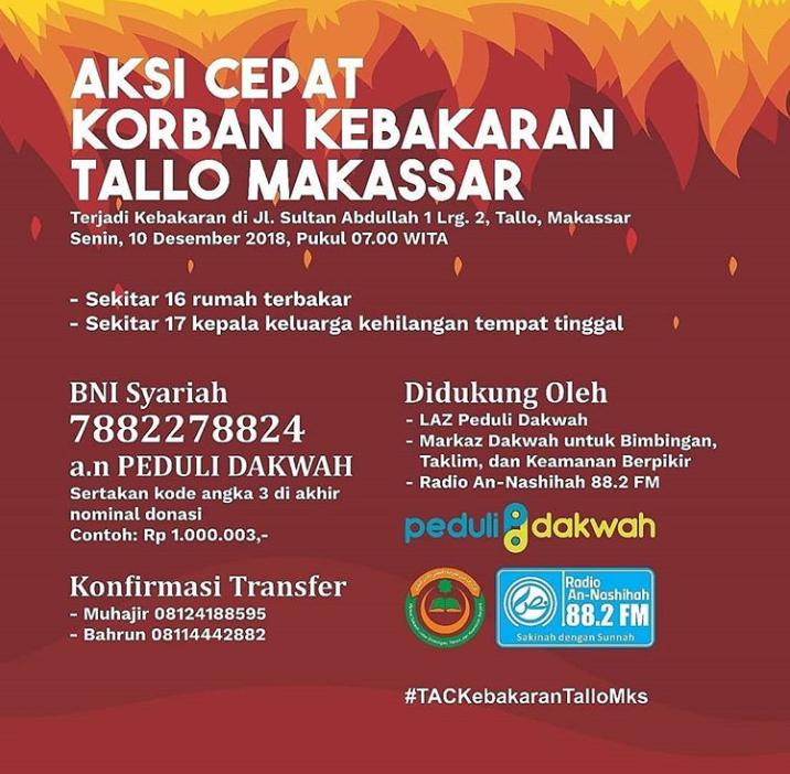 AKSI CEPAT untuk KORBAN KEBAKARAN TALLO MAKASSAR DESEMBER 2018