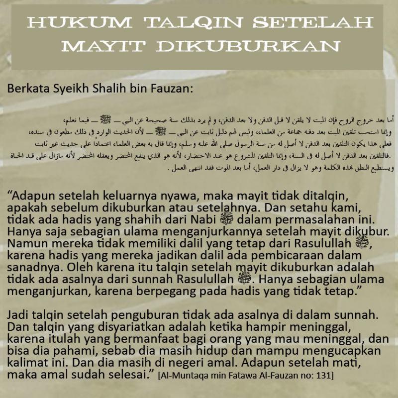 HUKUM TALQIN SETELAH MAYIT DIKUBURKAN