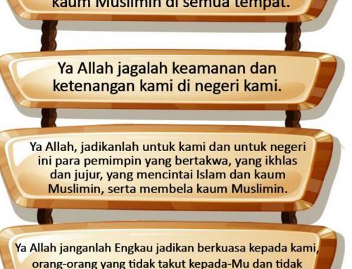 MARI KITA PERBANYAK DOA UNTUK KEBAIKAN ISLAM DAN NEGERI INI