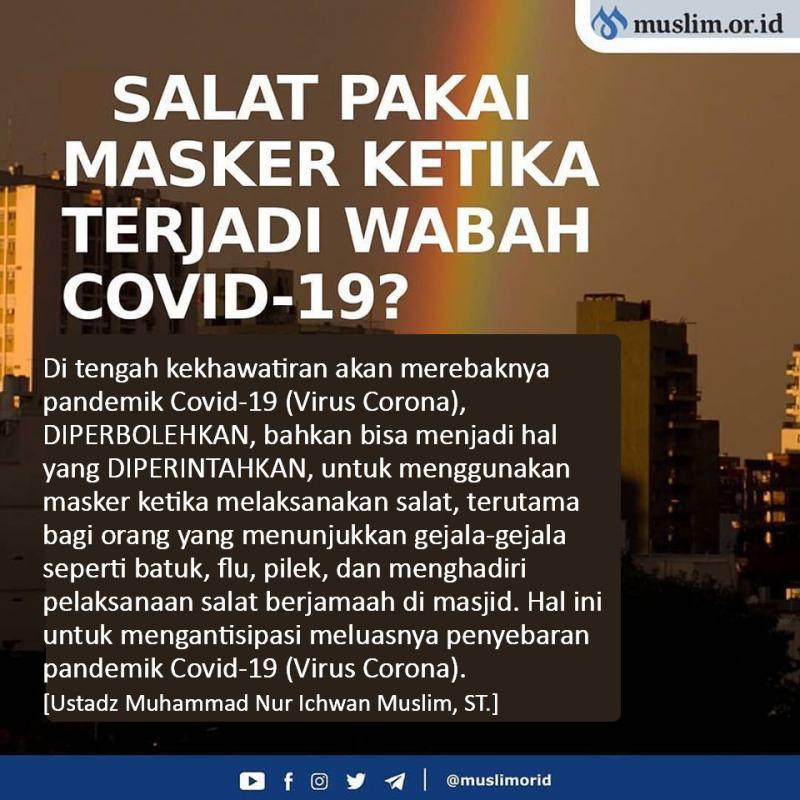 HUKUM MEMAKAI MASKER KETIKA SALAT SAAT TERJADI WABAH COVID-19