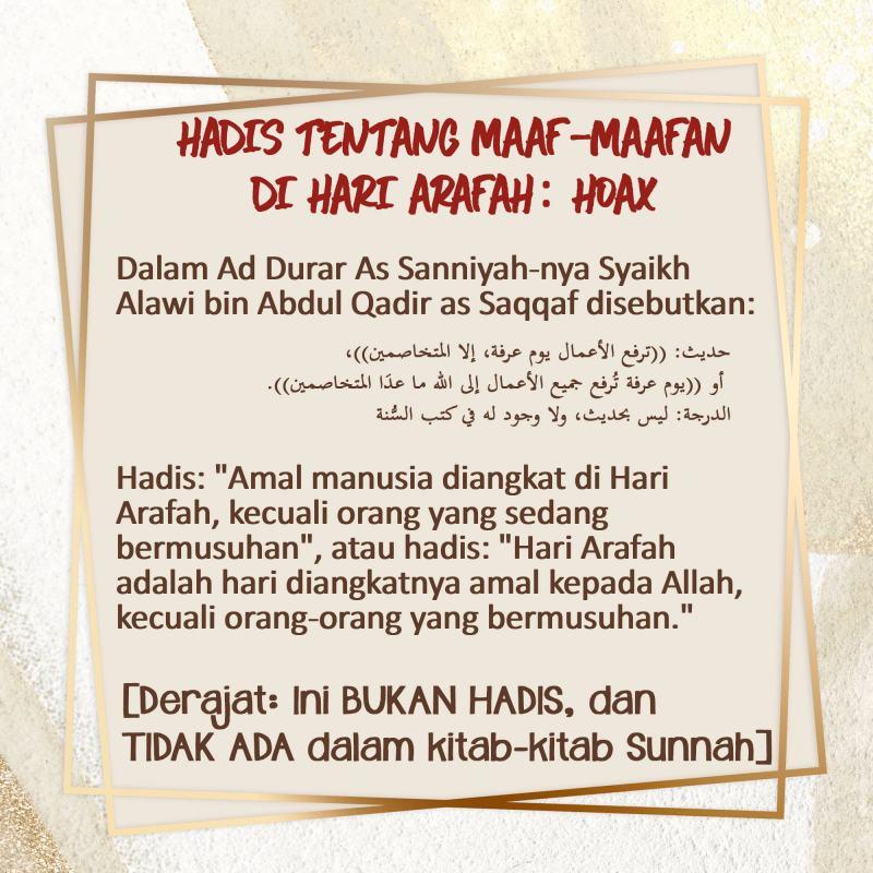 HADIS TENTANG MAAF-MAAFAN DI HARI ARAFAH: HOAX