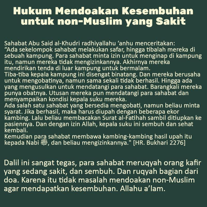 HUKUM MENDOAKAN KESEMBUHAN UNTUK NON-MUSLIM YANG SAKIT