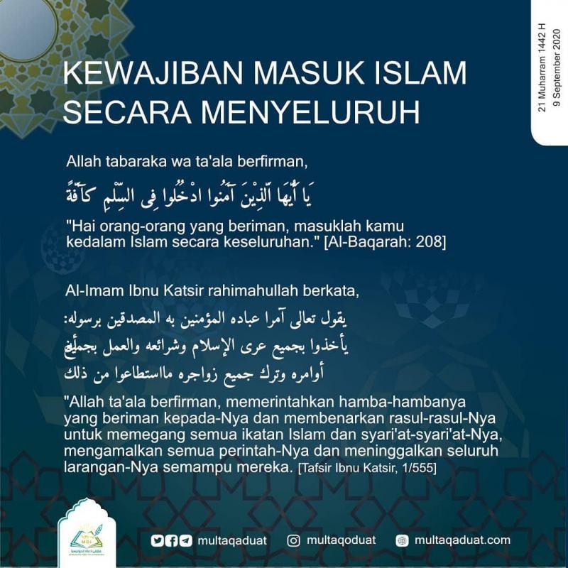 KEWAJIBAN MASUK ISLAM SECARA MENYELURUH