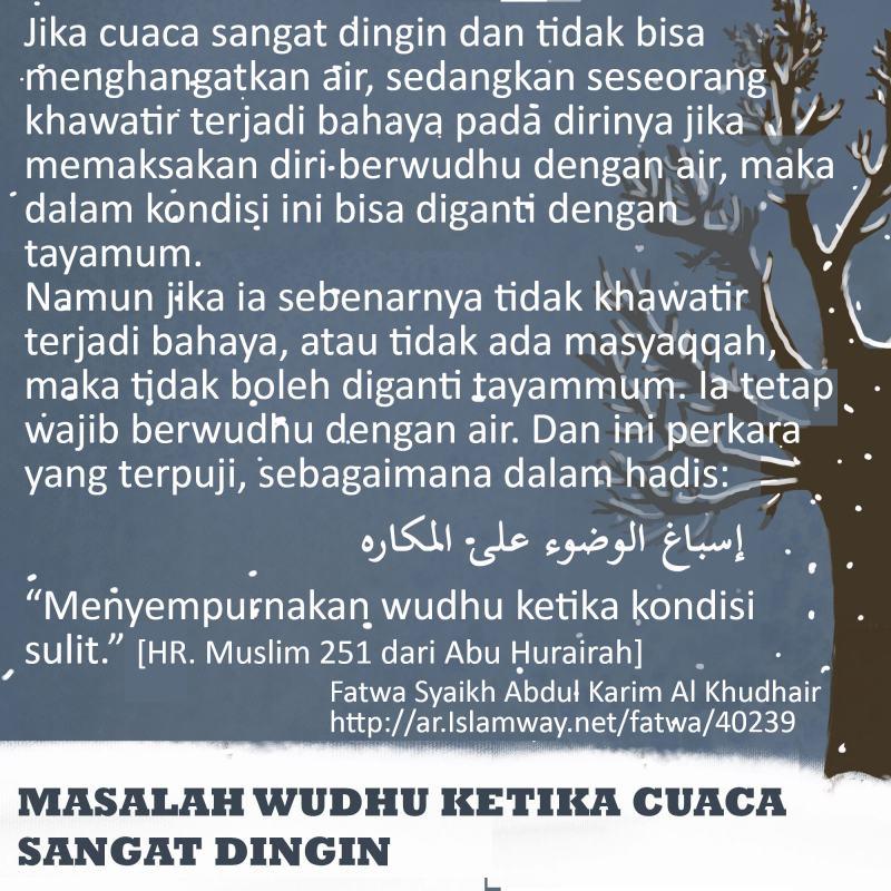 MASALAH WUDHU KETIKA CUACA SANGAT DINGIN (FATWA ULAMA)