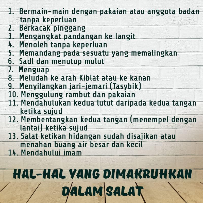 HAL-HAL YANG DIMAKRUHKAN DALAM SALAT