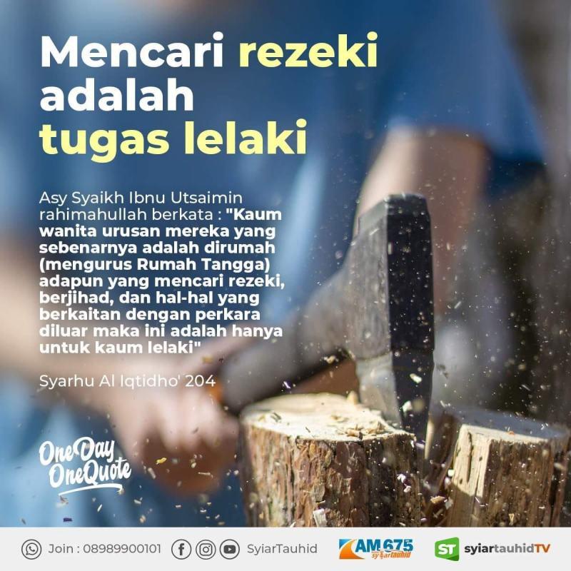 MENCARI REZEKI ADALAH TUGAS LAKI-LAKI