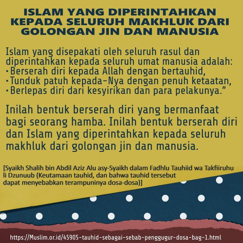 ISLAM YANG DIPERINTAHKAN KEPADA SELURUH MAKHLUK DARI GOLONGAN JIN DAN MANUSIA