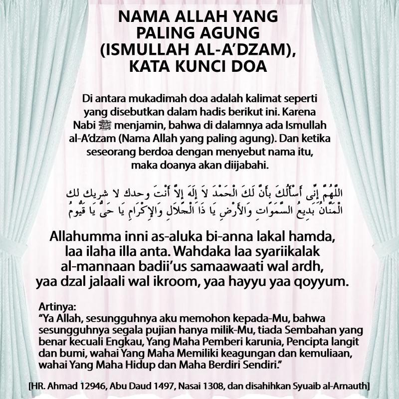 NAMA ALLAH YANG PALING AGUNG (ISMULLAH AL-A'DZAM), KATA KUNCI DOA