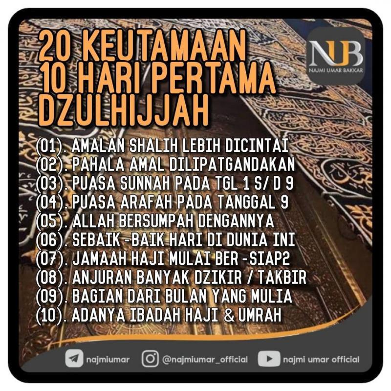 20 KEUTAMAAN DI SEPULUH HARI PERTAMA ZULHIJAH