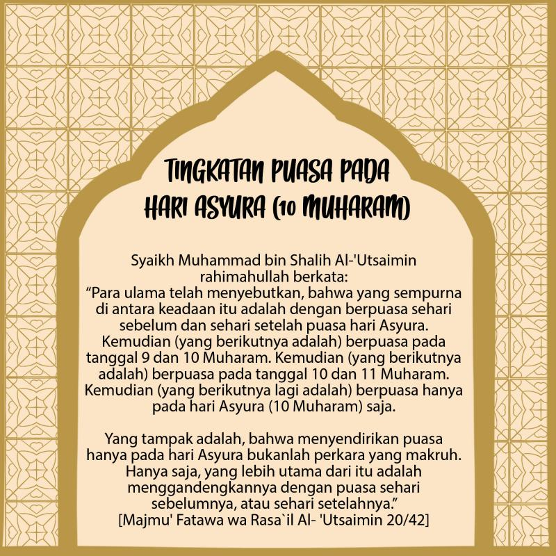INILAH TINGKATAN-TINGKATAN PUASA PADA HARI ASYURA (10 MUHARAM)